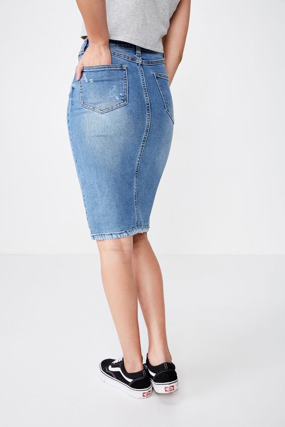The Premium Midi Skirt, BALTIC BLUE