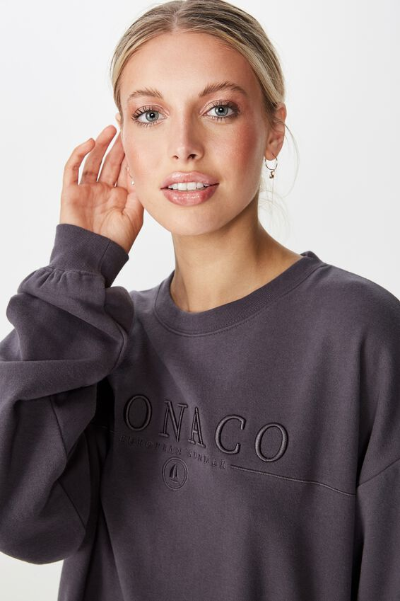 Lara Long Sleeve Sweat, GRANITE GREY/MONACO