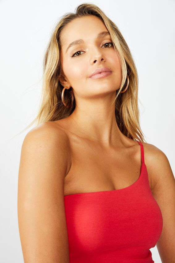 Shannee Strappy One Shoulder Crop, CANDY RED
