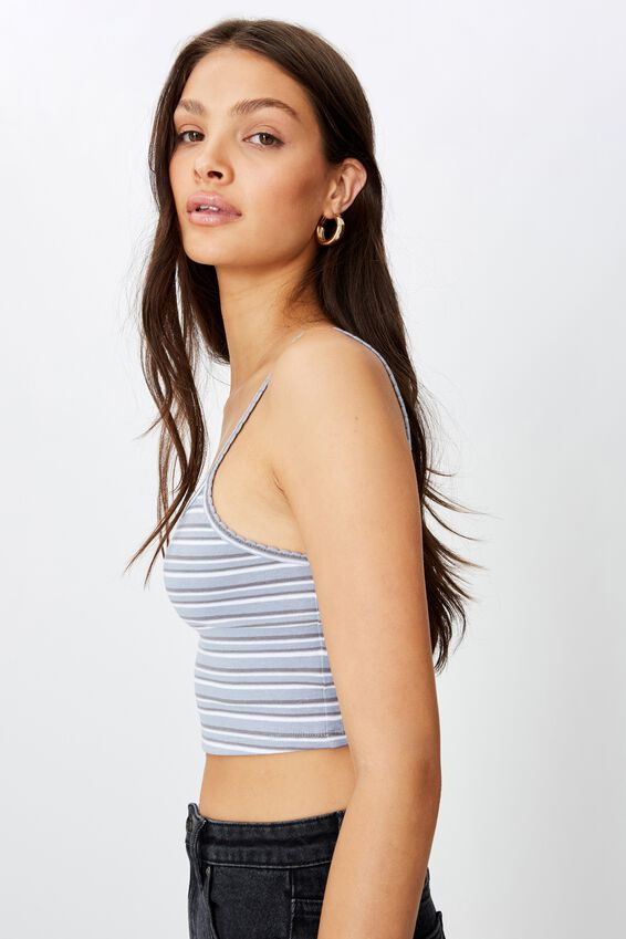 Ruth Crop Cami, KATE STRIPE (BL RDR/WHT/CMNT GRY)