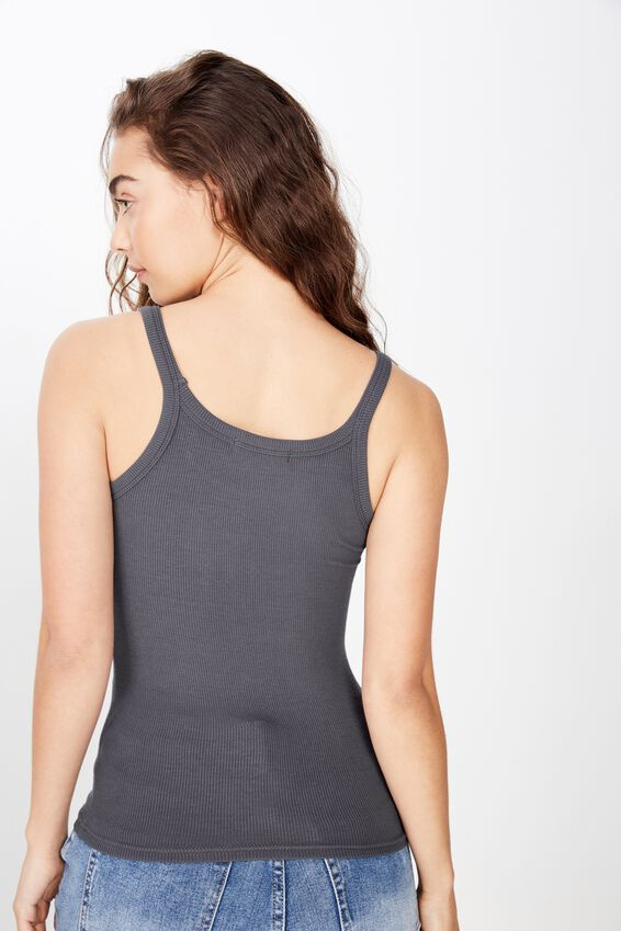Leigh Rib Top, GRANITE GREY