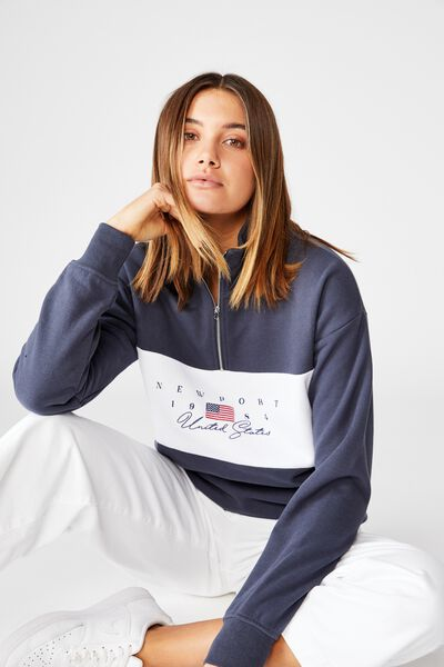 Huntington Quarter Zip Sweat, WASHED NAVY/WHITE/STACKED NEWPORT YACHT CLUB