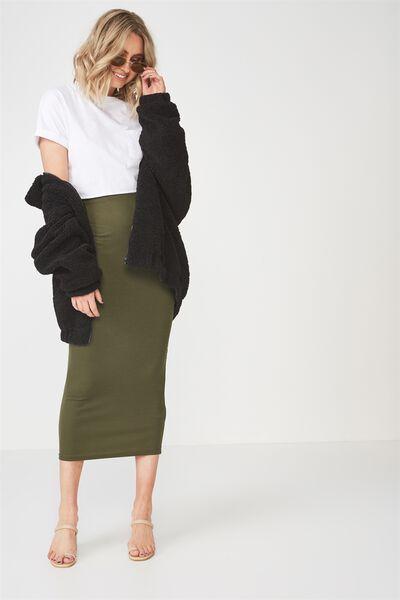 Rib Maxi Skirt, KHAKI