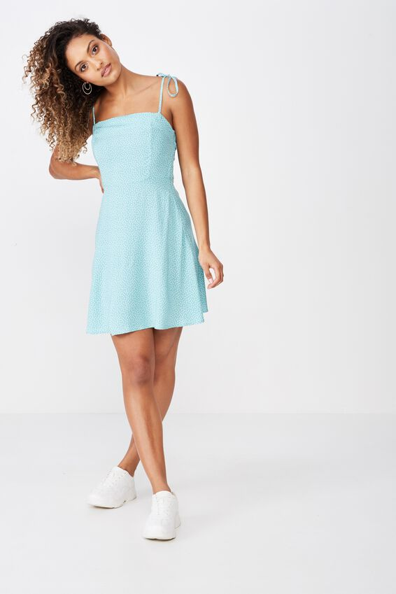 Rylie Tie Shoulder Skater Dress, IRIS RANDOM SPOT SAGE