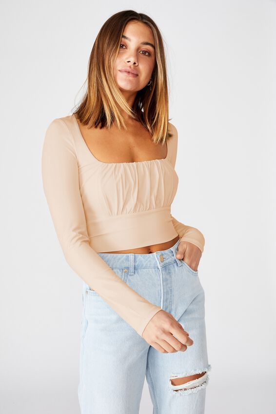 Hayley Gathered Front Long Sleeve Top, PINK FLOSS