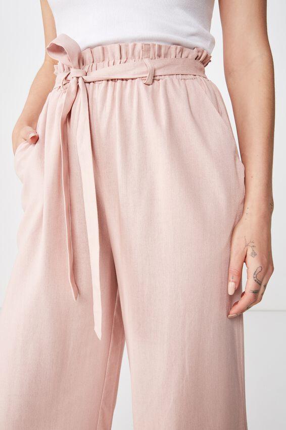 Crop Luna Paperbag Linen Pant, DUSK PINK
