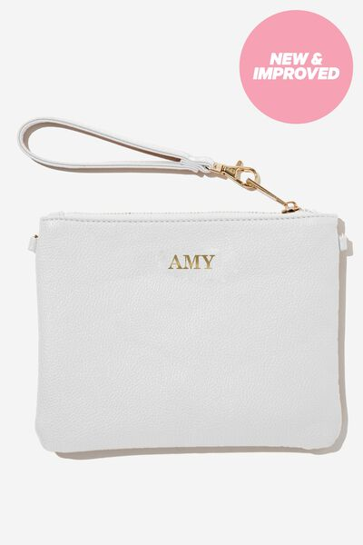 Customised Sofia Zip Pouch, WHITE