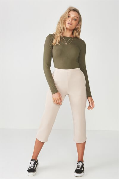Straight Leg Crop Pant, NATURAL