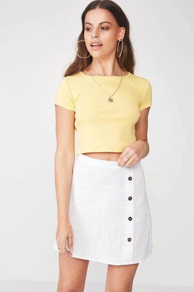 Lola Side Button Linen Blend Skirt, WHITE