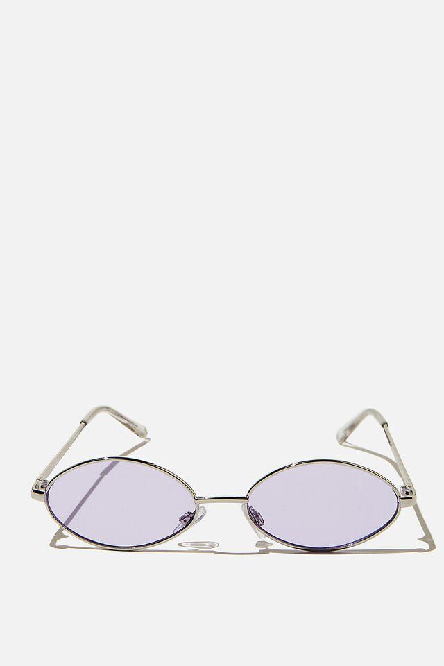 Anya Oval Sunglasses, SILVER LILAC