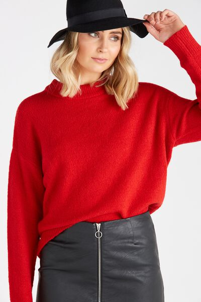 Courtney Cosy Knit Top, RED