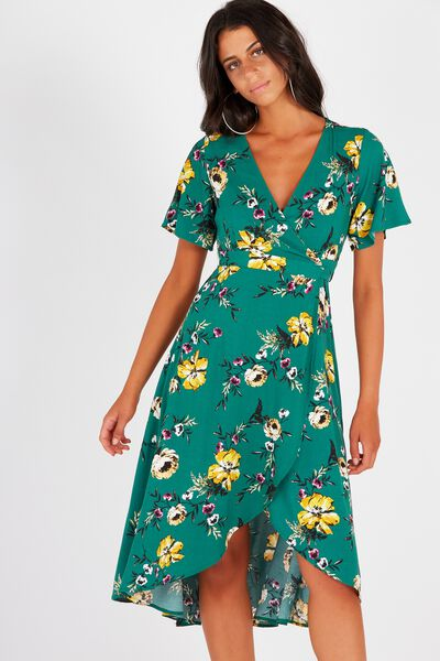 Whitney Wrap Maxi Dress, MOSS FLORAL
