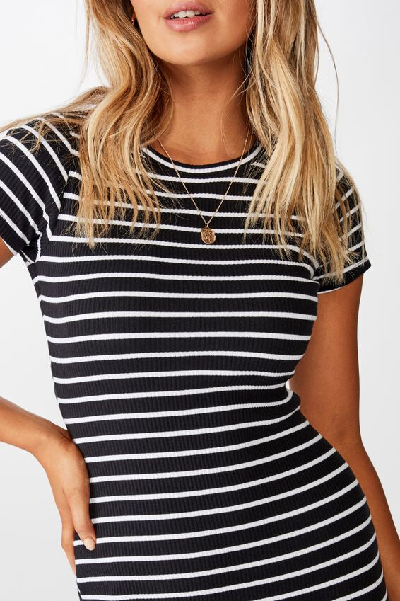 Lucia Rib Tee Mini Dress, BLACK AND WHITE STRIPE