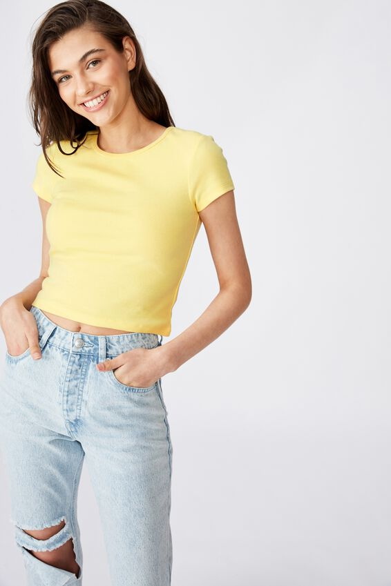 Lyra Rib Mini Tee, DAISY YELLOW