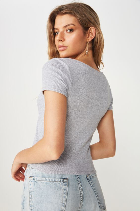 Lisa V Neck Rib Top, GREY MARLE