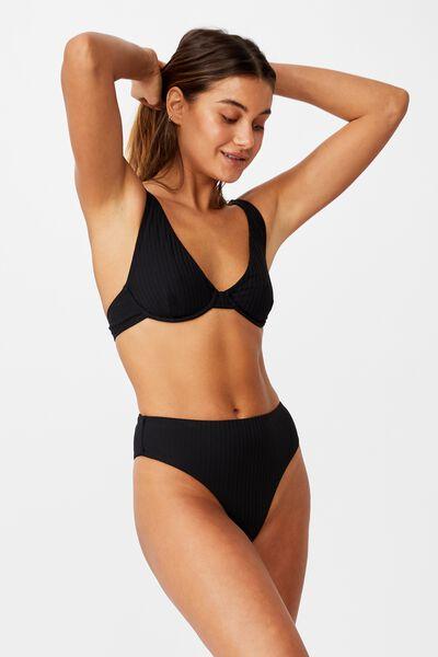Santa Barbara High Waist Bikini Bottom, BLACK/WIDE RIB