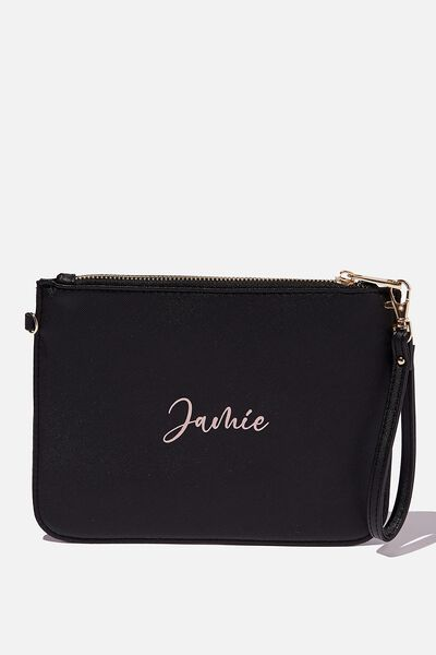 Personalised Nova Clutch, BLACK TEXTURE