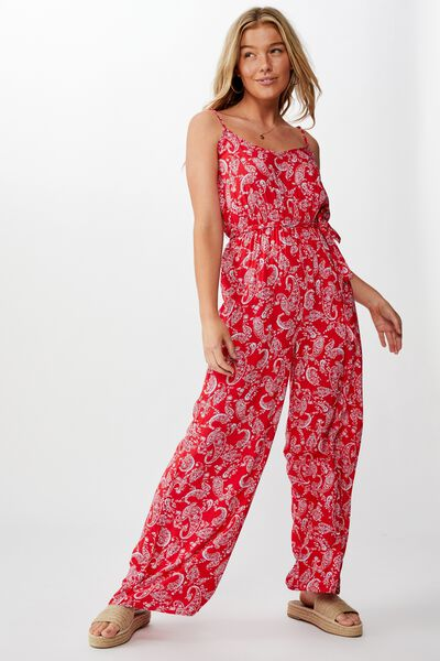 Joslyn Strappy Jumpsuit, RED PAISLEY