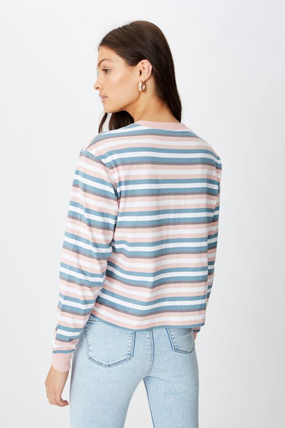 Teri Long Sleeve Crew Neck Top, TILLY STRIPE (RS QRTZ/FDD JD BL/CMNT GRY/WHT)