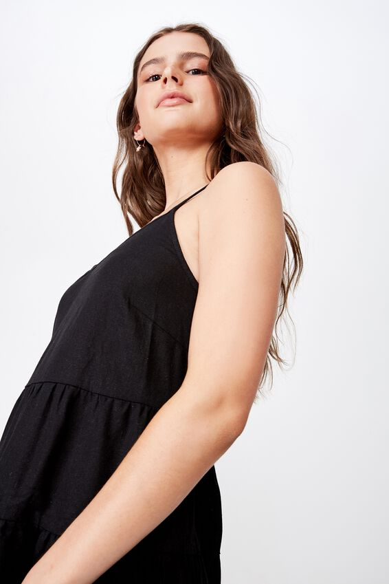 Sunlover Slip Dress, BLACK