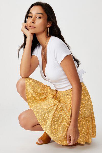 Kaiya Frill Hem Skirt, SCRIBBLE SPOT MUSTARD