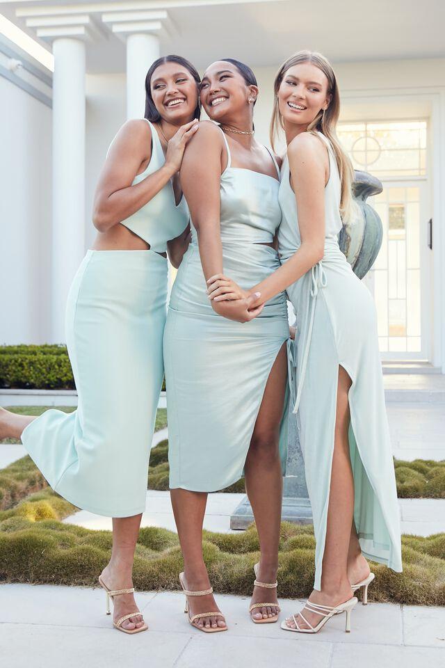 Joanna Ruched Cut Out Midi Dress, SEAGLASS