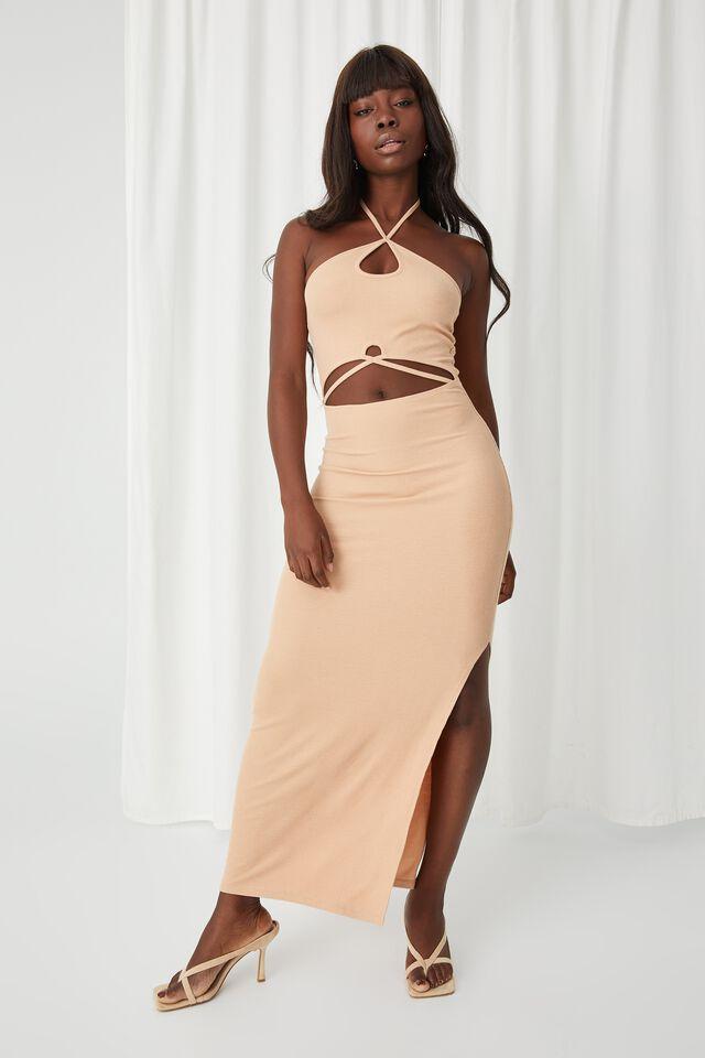 Monroe Halter Cutout Maxi Dress, PALE HONEY
