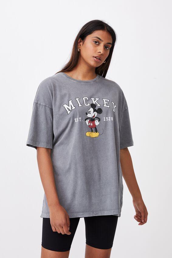 Mickey Oversized Tee, VINATGE WASH STEEL GREY/LCN DIS MICKEY COLLEG