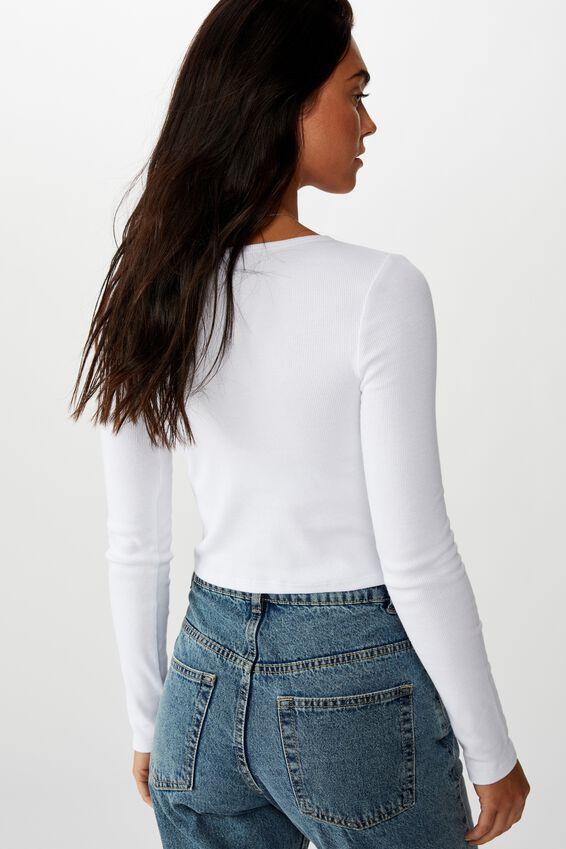 Ash Long Sleeve Rib Top, WHITE