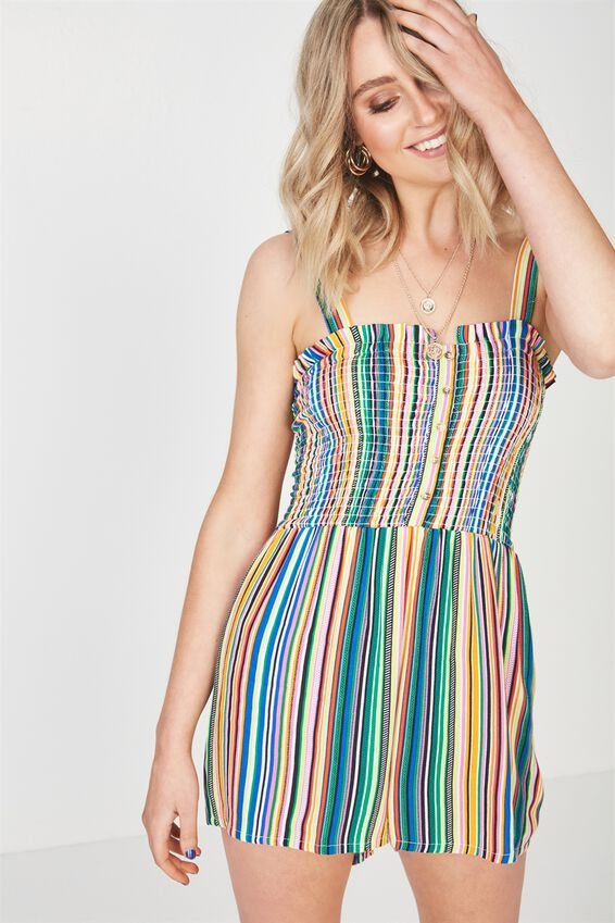 Hazel Shirred Button Front Playsuit, MULTI RAINBOW STRIPE