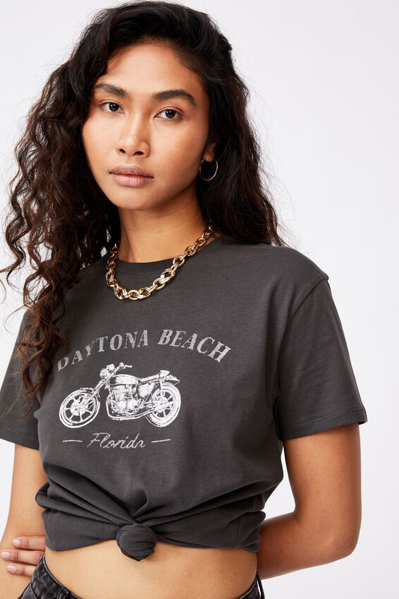 Lola Printed Longline T Shirt, PHANTOM/DAYTONA BEACH