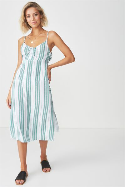 Strappy Gathered Bust Midi Dress, TILE STRIPE GREEN