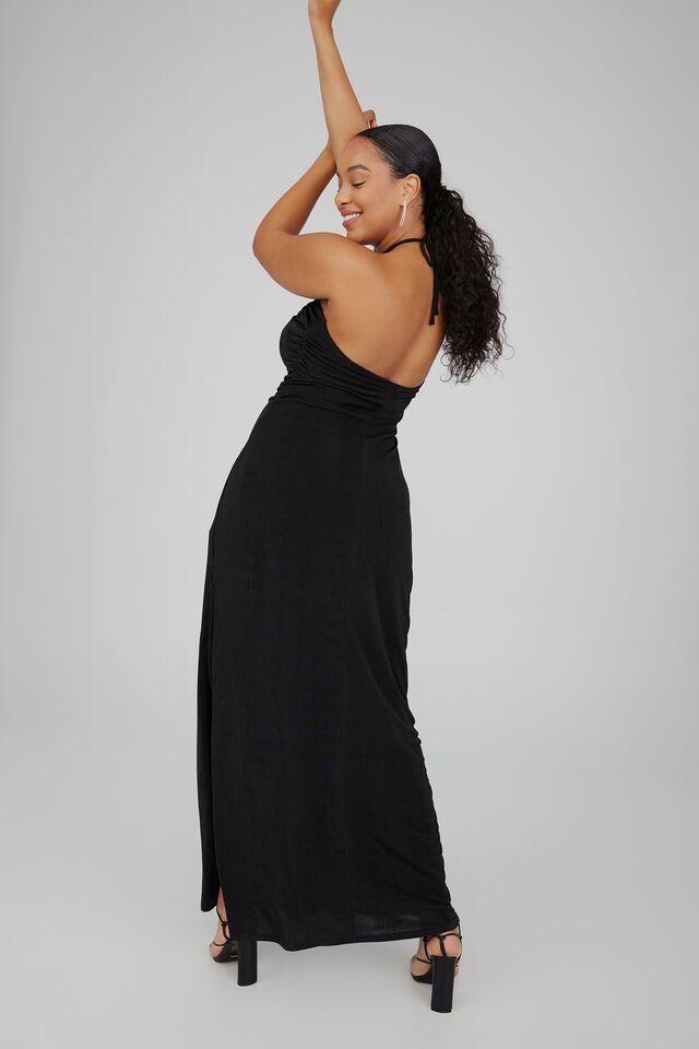 Serena Halter Neck Ruched Formal Dress, BLACK