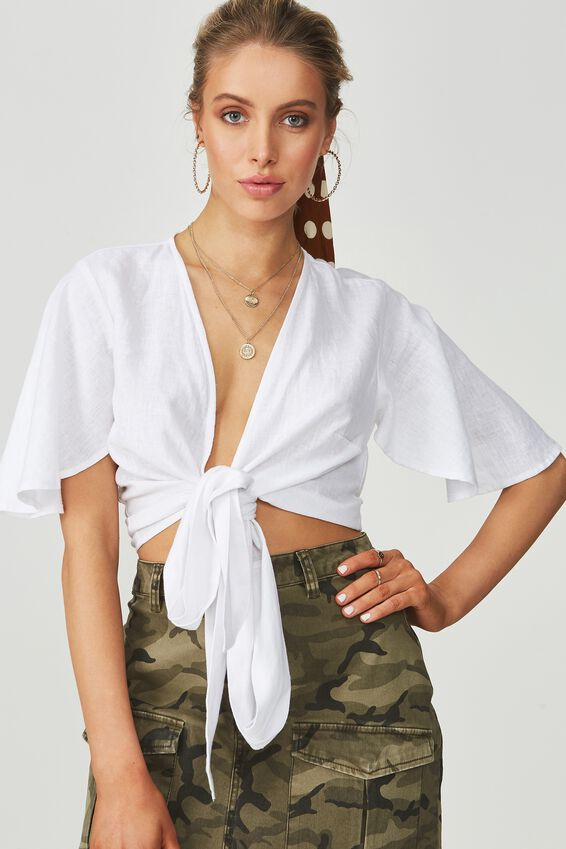 Coco Tie Front Linen Blend Top, WHITE