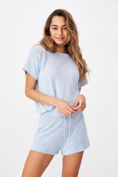 Brittany Tee Knit Co Ord, BLUE PETAL