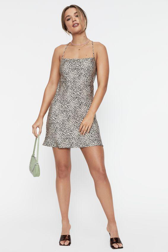 Tessa Tie Back Mini Dress, XENA BIEGE BUFF