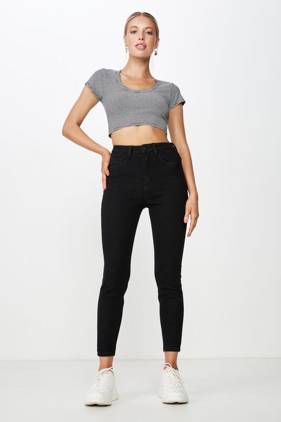 Short Skinny Premium Ankle Grazer Jean, BLACK