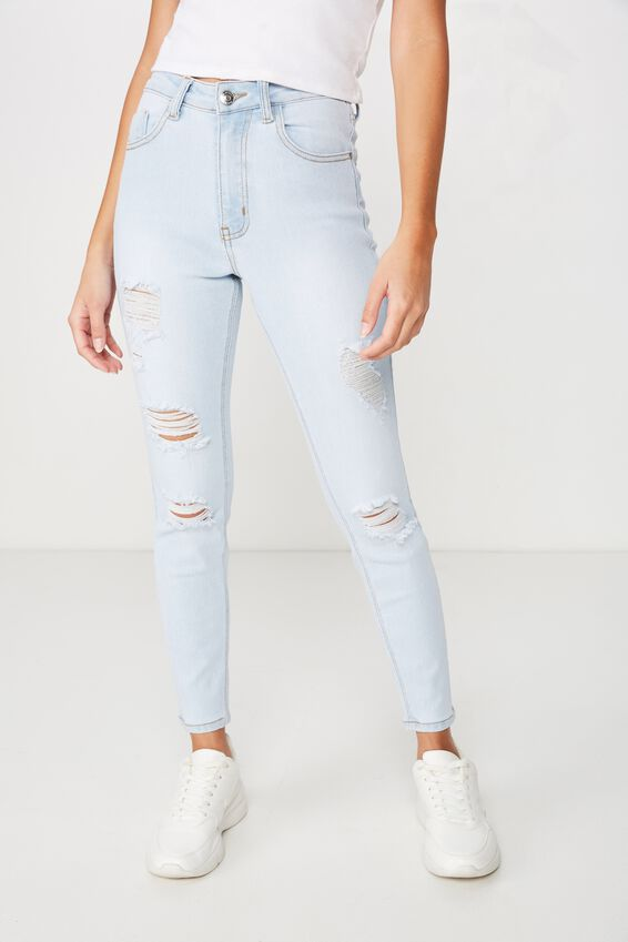 Short Leg Skinny Premium High Rise Ripped Jean, POWDER BLUE