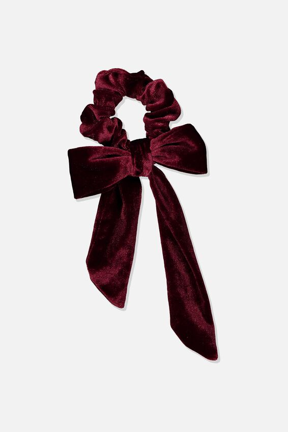 Velvet Bow Scrunchie, BURGUNDY