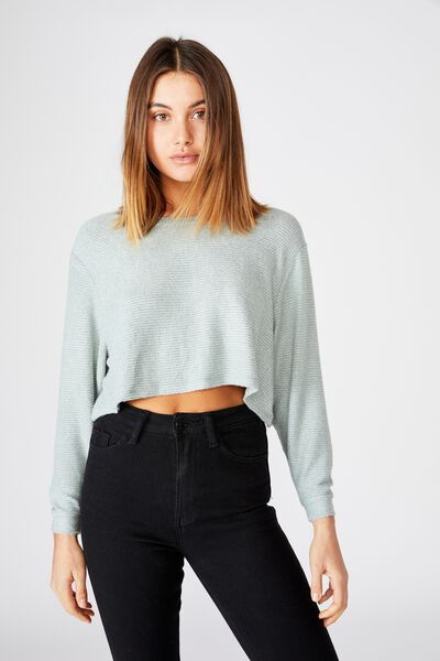 Taylor Crew Neck Long Sleeve Top, DEEP SAGE