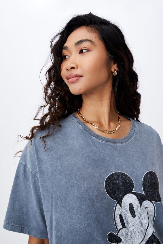 Oversized Vintage Mickey T Shirt, VINTAGE WASH SOFT SLATE/LCN DIS MICKEY VINTAG