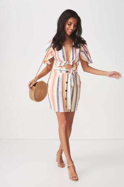 Paperbag Waist Mini Skirt, SUNRISE STRIPE