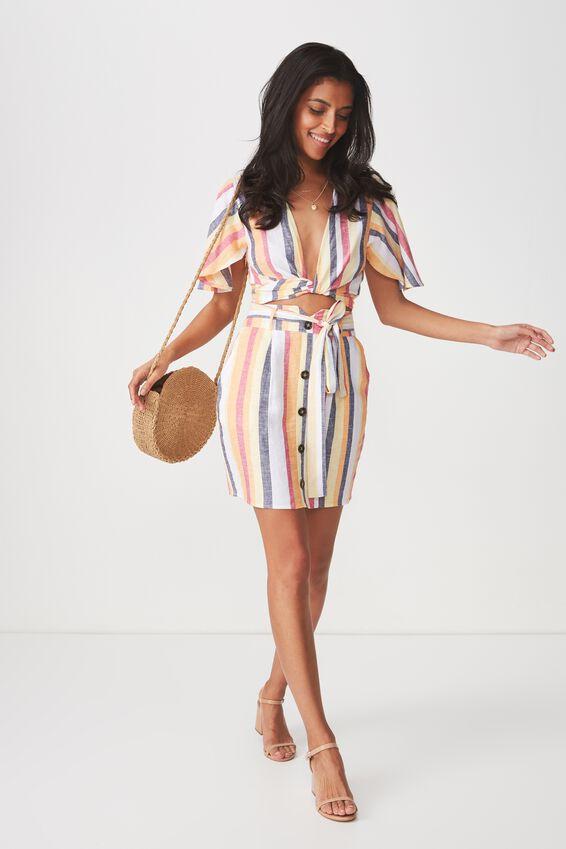 Paperbag Waist Mini Skirt, SUNRISE STRIPE