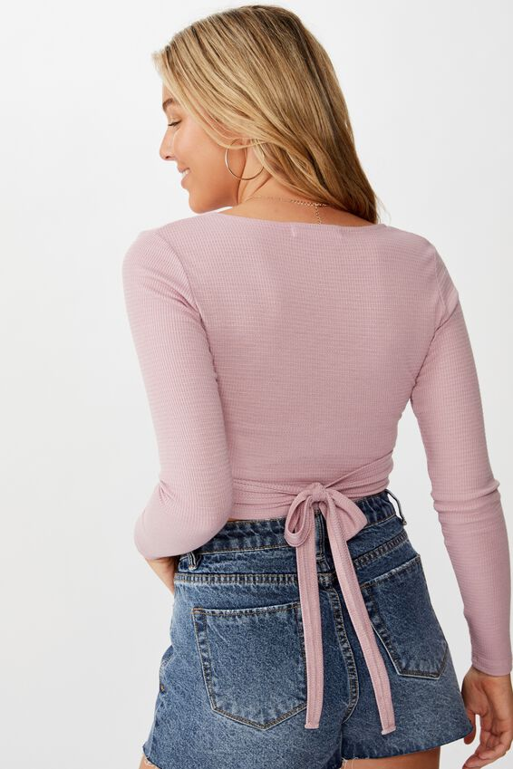 Nala Long Sleeve Wrap Top, ANTIQUE ROSE