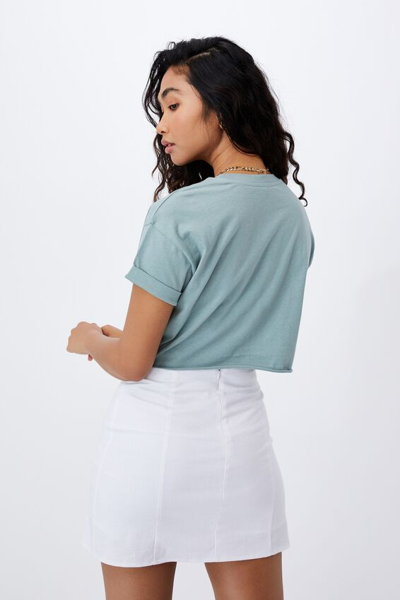 Tamara Printed Crop T Shirt, WILLOW GREEN/TIGERS
