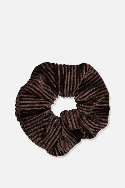 Pleated Plush Scrunchie, CHOCOLATE