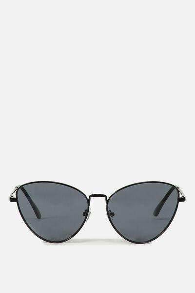 90s Metal Catty Sunglasses, BLACK/BLACK