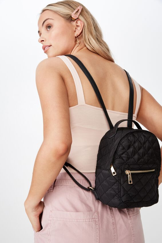 Florence Quilted Mini Backpack, BLACK
