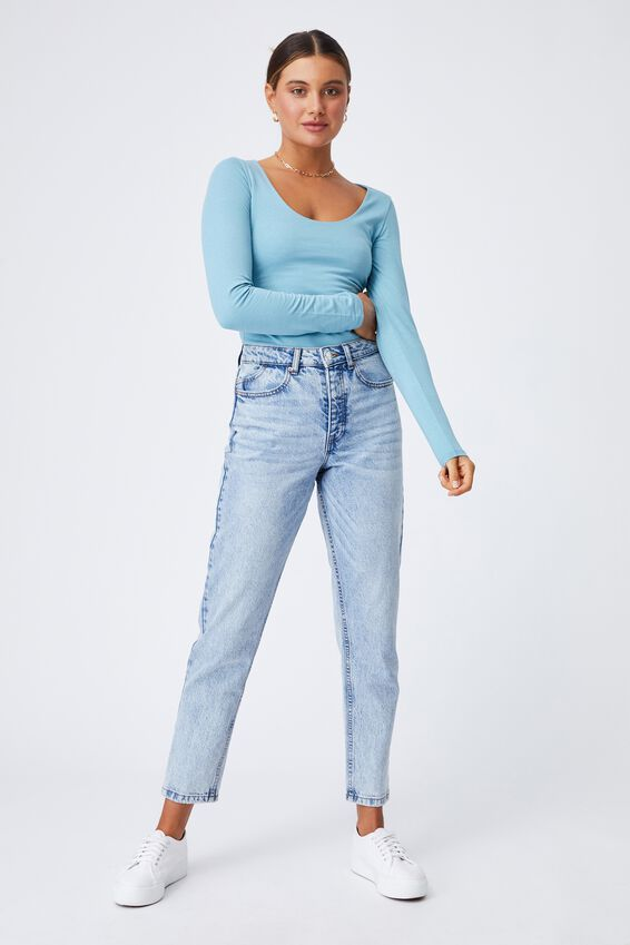 Helena Scoop Neck Long Sleeve Top, CHALKY TEAL