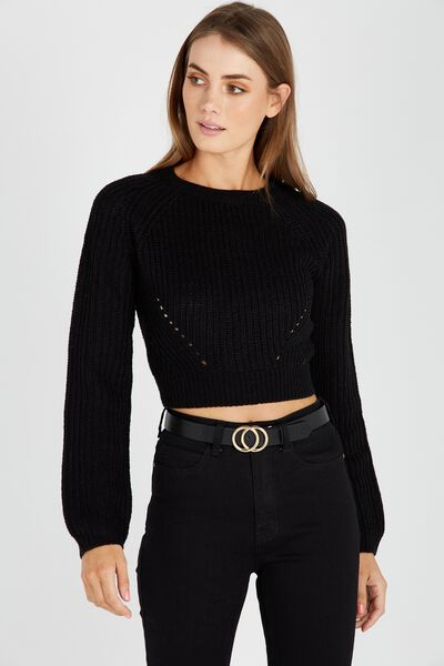 The Harper Knit Top, BLACK